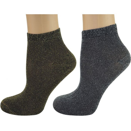 2 Pairs Trainer Socks Glitter Gold and Silver