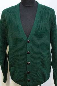 Waffle Knit Cardigan Bottle Green