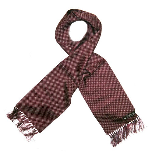 Burgundy/White pin dots Silk Aviator Scarf