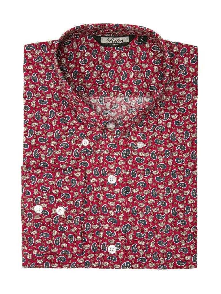 Paisley Long Sleeved Shirt Burgundy