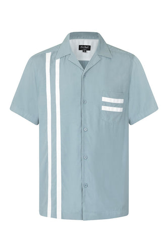 Lucky Stripe Bowling Shirt Blue