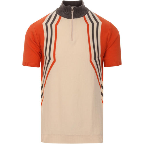 Slipstream Hex Stripe Knitted Cycling Top Eggnog