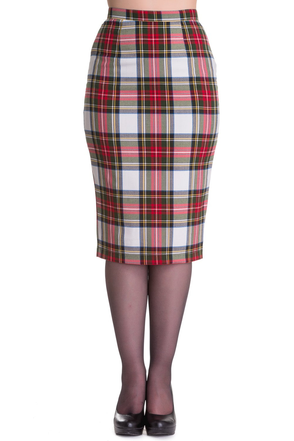 Jodie Pencil Skirt White Tartan