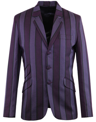 Offbeat Stripe Boating Blazer Grape`