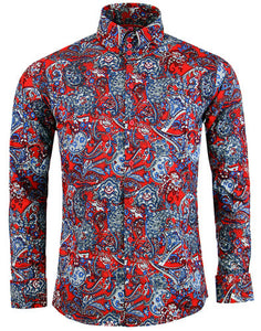 Sunset Paisley LS Shirt Red