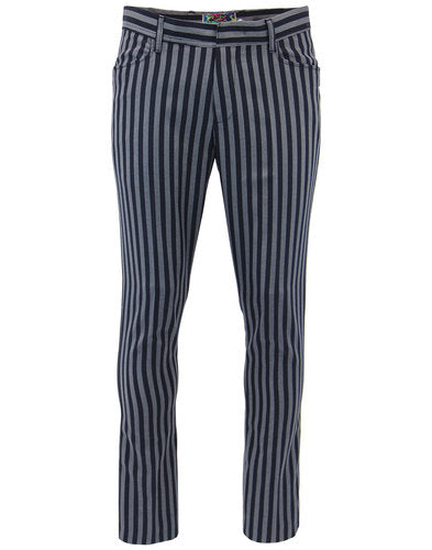 Meadon Striped Boating Trouser Navy/Silver