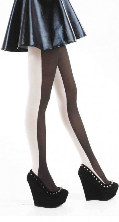 Monochrome opaque Tights Blk/White