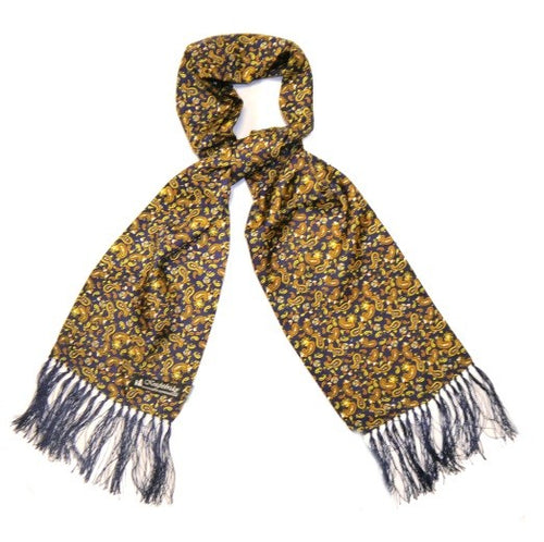 Silk Aviator Scarf Navy/Yellow Paisley