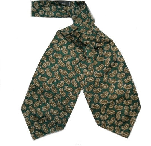 Silk Cravat Racing Green Busy Paisley
