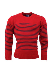 Stripe jumper with anchor shoulder buttons Red