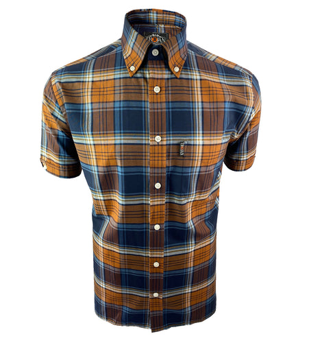 Dark Tartan Check S/S B/D Shirt with free matching pocket square Golden Tan