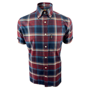 Dark Tartan Check S/S B/D Shirt with free matching pocket square Port