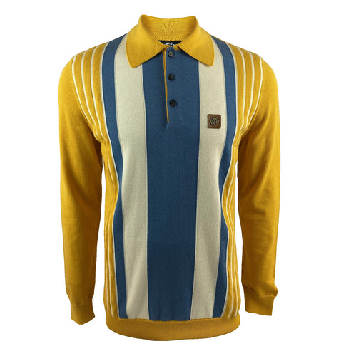 Multi-Stripe Fine Gauge L/S Polo Mustard