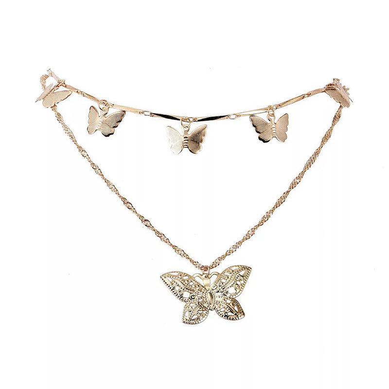 Layered Charm Butterfly Necklace (5256697741478)