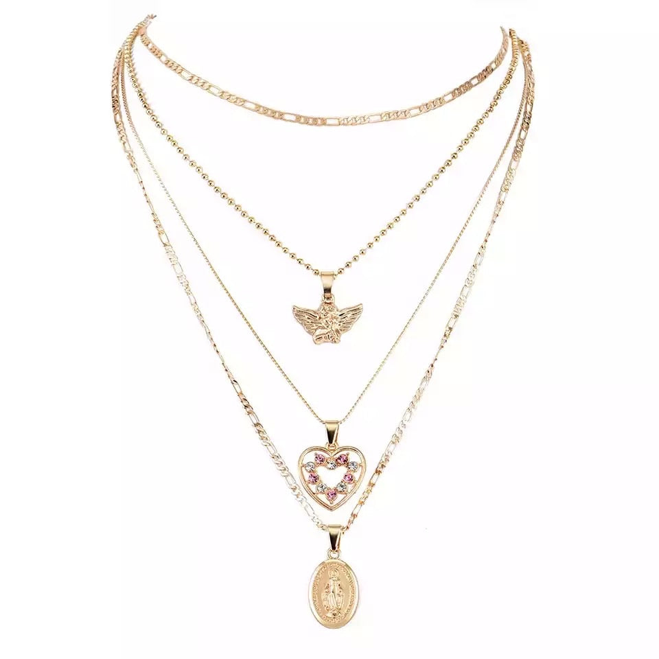 Layered Heart Angel Necklace (4489710141575)