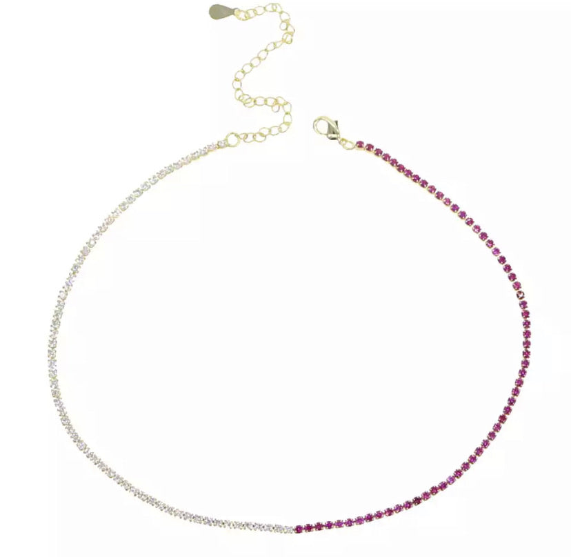 Two Tone Tennis Necklace