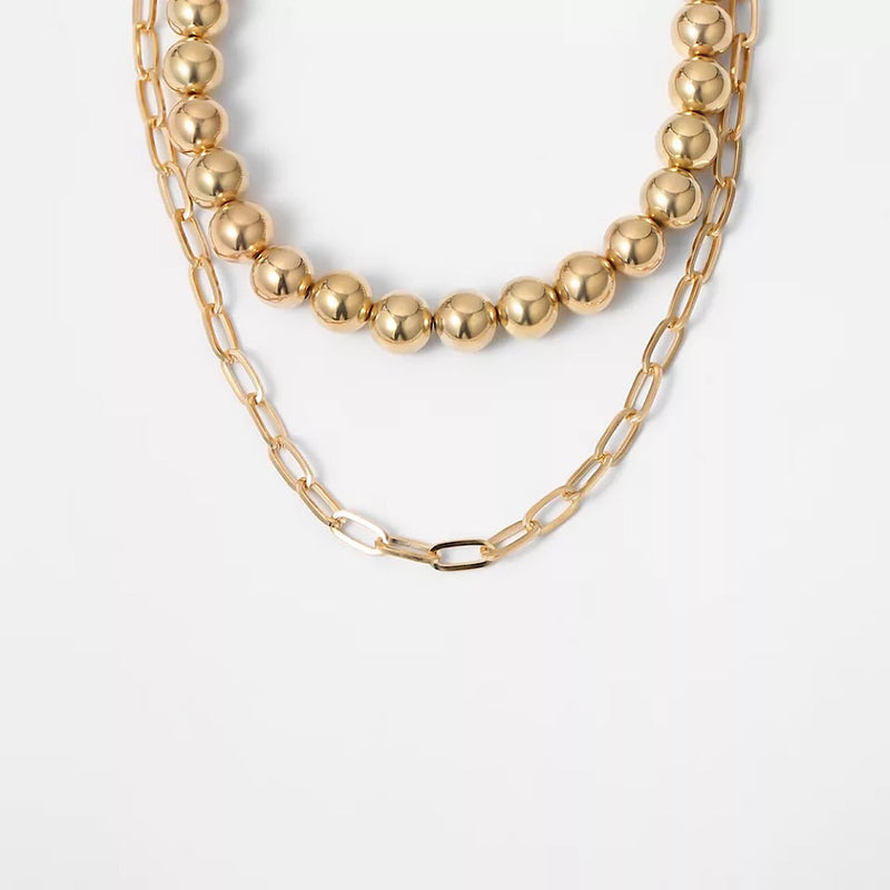 Layered Gold Chain Necklace (5354063397030)