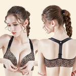Leopard Wireless Front Closure Seamless Push Up Bra