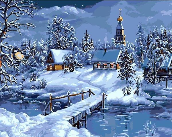 Christmas Snow Landscape-DIY Painting By Numbers