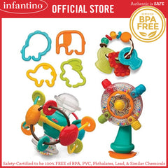 INFANTINO Shake, Turn, Link & Teethe Combo - Set of 4 Different Sensory Toys (BPA-Free)
