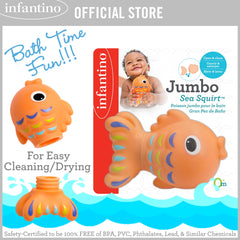 INFANTINO Jumbo Sea Squirt™ - Fish (Detachable Tail for Easy Cleaning & Drying)