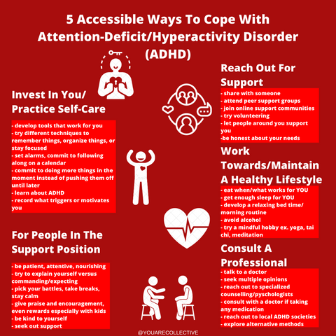 Attention-Deficit/Hyperactivity Disorder infographic for tips to cope created by You Are Collective
