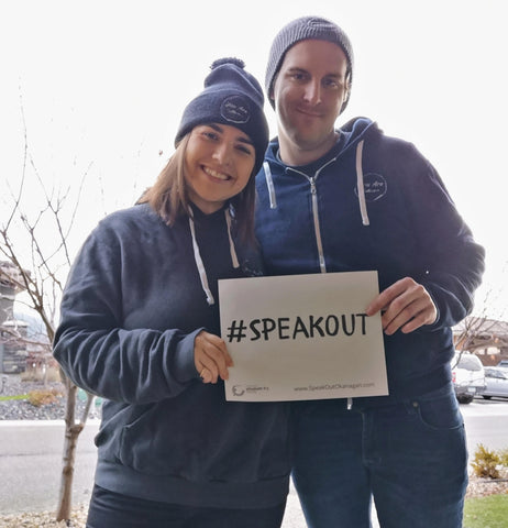 Rebecca and Michael supporting the #SPEAKOUT Campaign through Elizabeth Fry Society