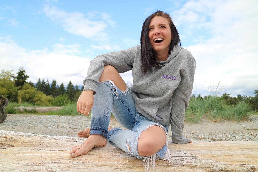 'BRAVELY BEAUTIFUL' Grey Unisex Hoodie