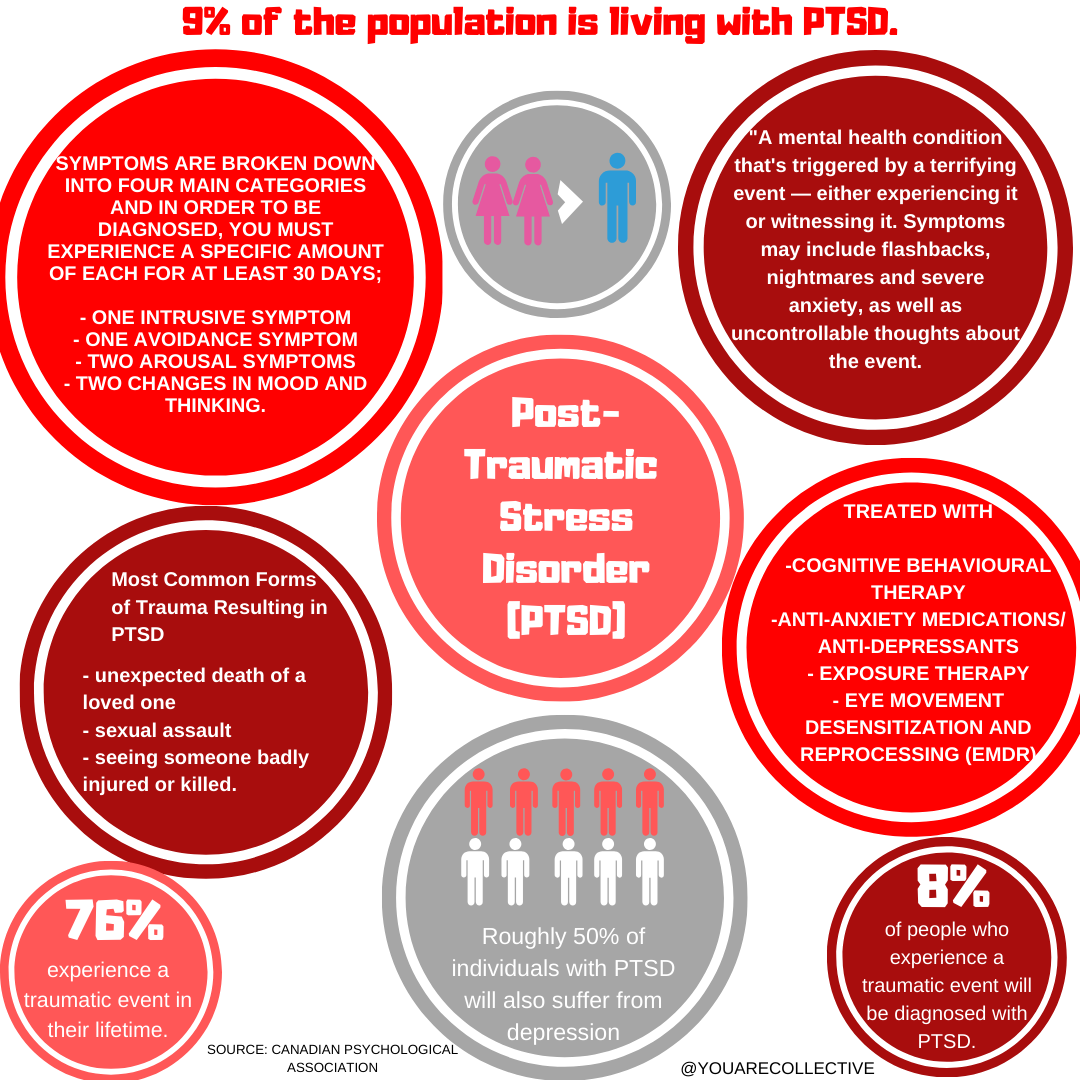 Infographic resource for people to learn more about post traumatic stress disorder (PTSD) a mental illness