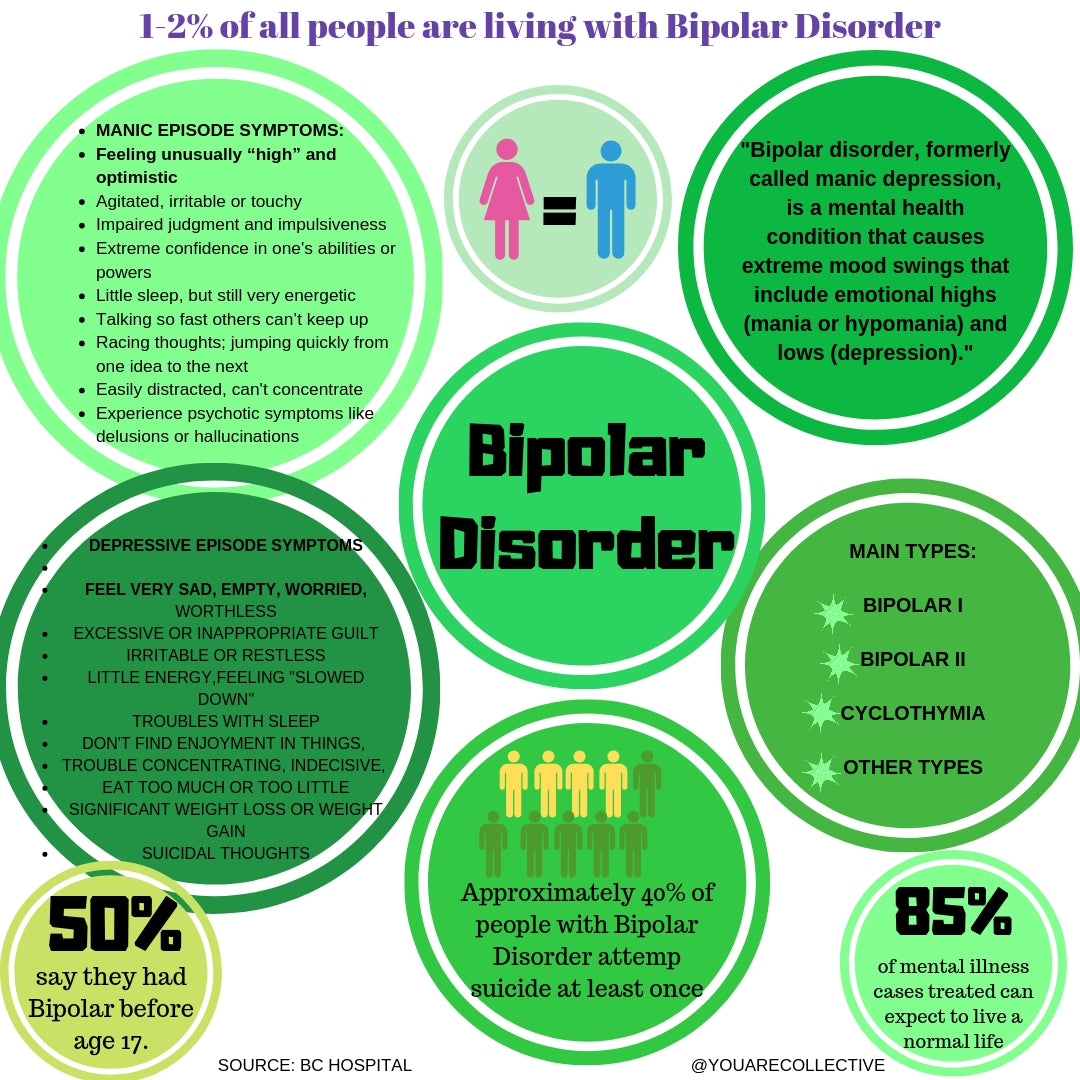 Infographic resource for people to learn more about bipolar disorder a mental illness