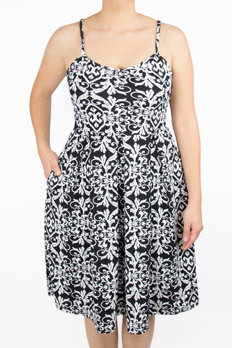 Clover Dress - 2X - Black and White Print
