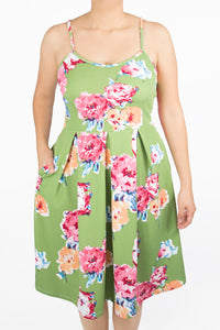 Clover Dress - 0X - Light Green Floral