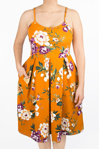 Clover Dress - 2X - Gold / Mustard Floral