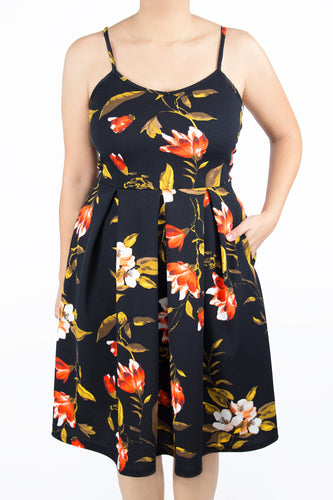 Clover Dress - 1X - Black Floral