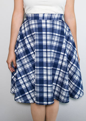 Paisley Raye Bloom Skirt - 0X - Blue and White Plaid