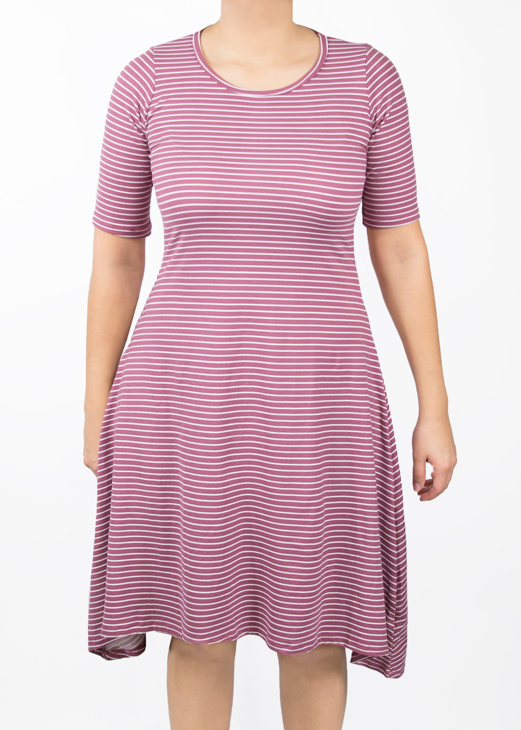 Poppy Dress - 1X - Pink & White Stripes