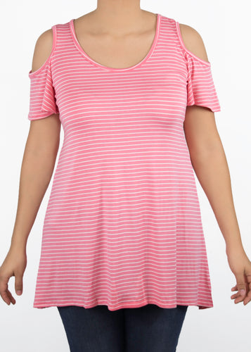 Plumeria Cold Shoulder Top - 0X - Pink & White Stripes