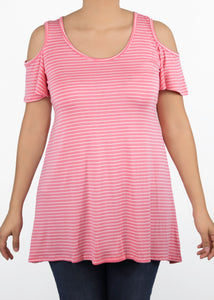 Plumeria Cold Shoulder Top - Medium - Pink & White Stripe