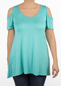 Plumeria Cold Shoulder Top - 1X - Aqua