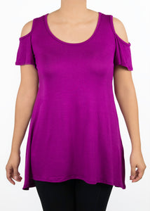 Plumeria Cold Shoulder Top - Large - Magenta