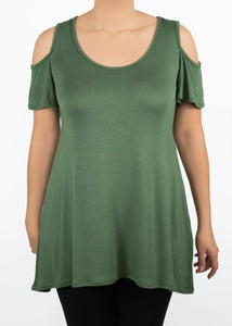 Plumeria Cold Shoulder Top - XL - Green