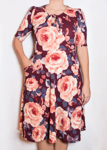 Sweet Pea Dress - 3X - Burgundy & Pink Floral