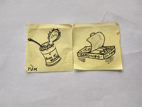 "Two post-it notes with images drawn on them in black sharpie. The one on the left shows an opened can of pork and beans and the signature ""Rum."" The one on the right features a can of sardines with the top peeled back."