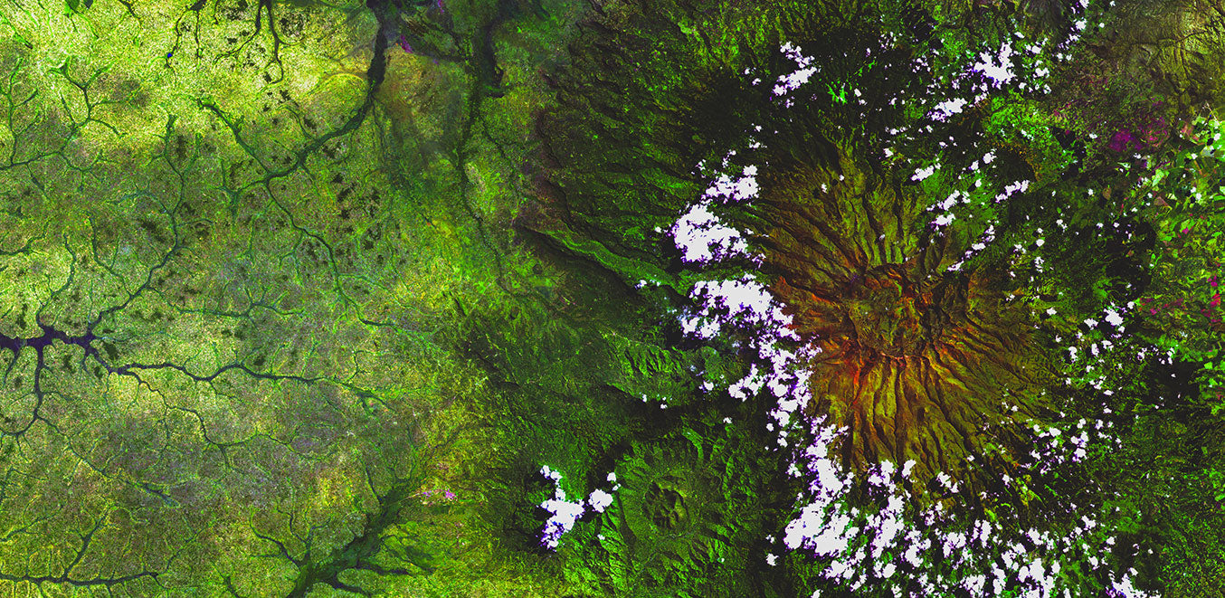 Satellite image of Mt Elgon at the border of Kenya and Uganda
