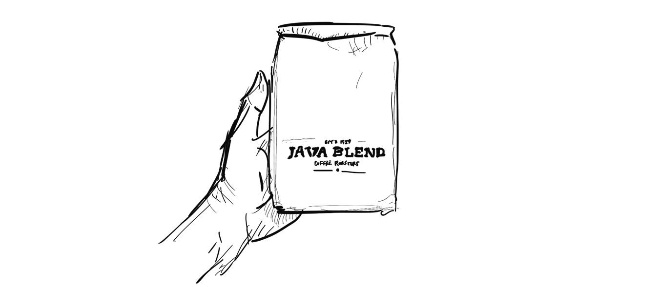 Illustration of a hand holding a bag of Java Blend coffee