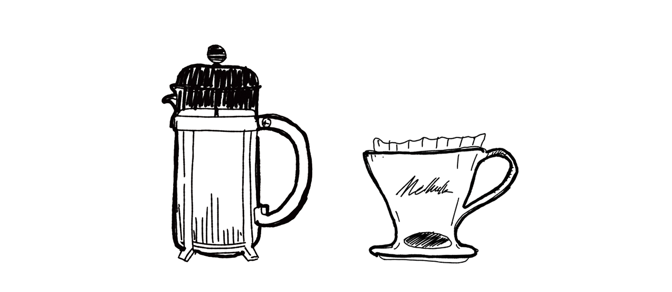 Illustration of two brewing methods, french press and Melitta pour over.