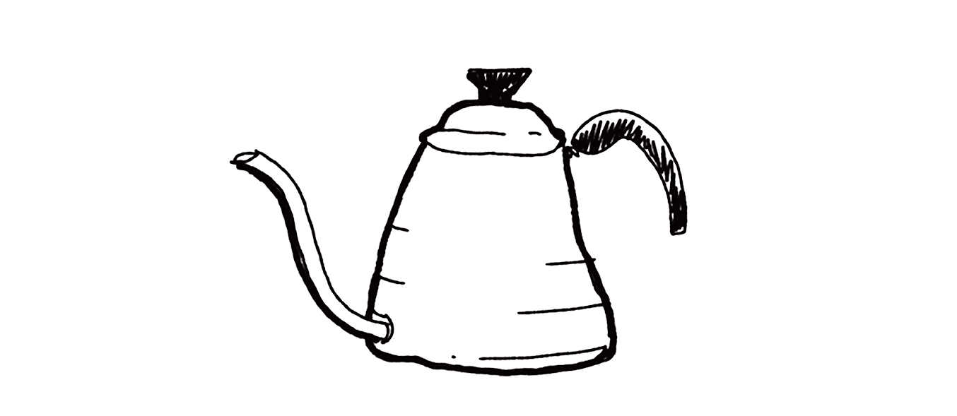 Illustration of a goose neck kettle for brewing pour over coffee.