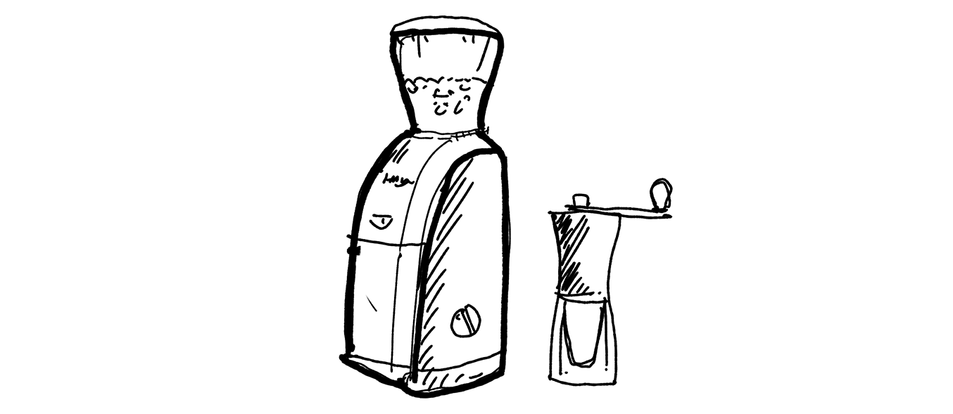 Illustration of two coffee grinders. One electric and one manual.