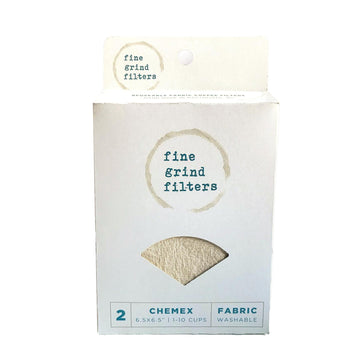 A white package with coffee stains on it and Fine Grind Filters. There is a cut out in the shape of a chemex filter and you can see the contents of the box