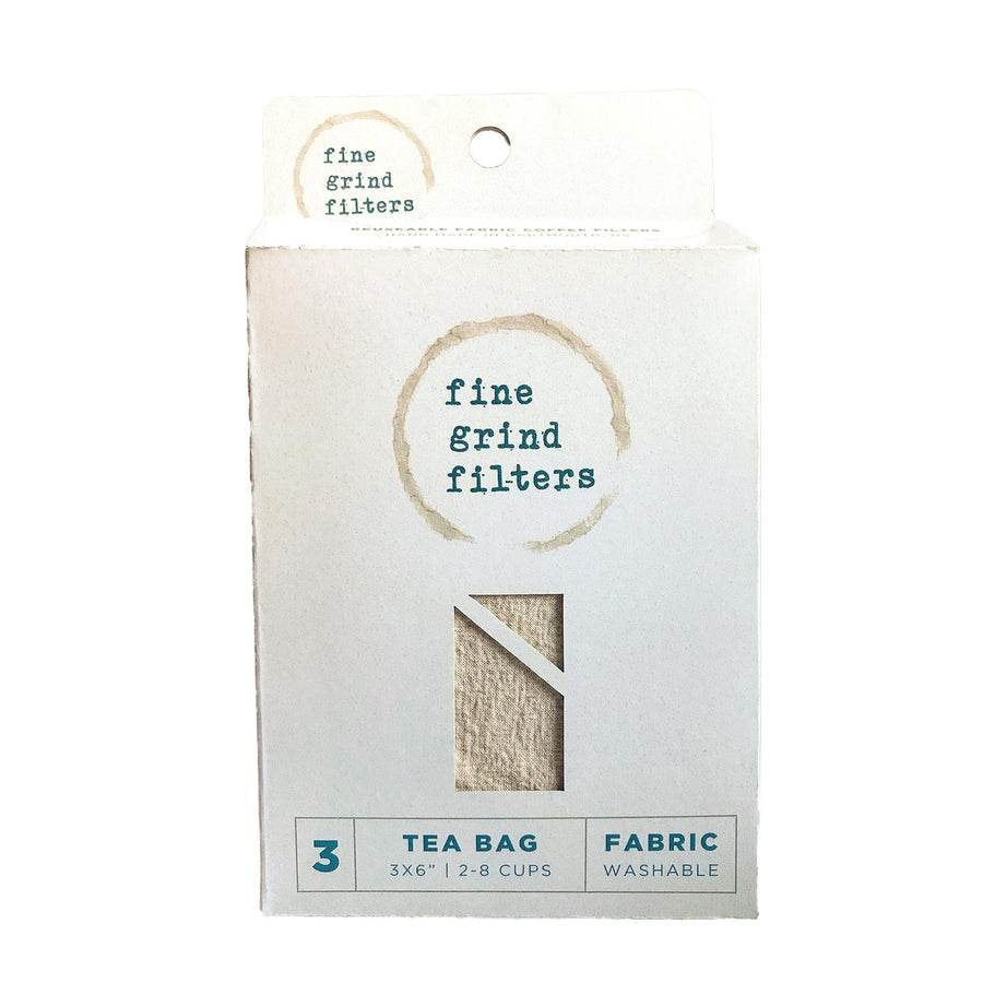 A white package that has coffee stains on it and says Fine Grind Filters. There is a cut out in the shape of a teabag showing the content of the box.